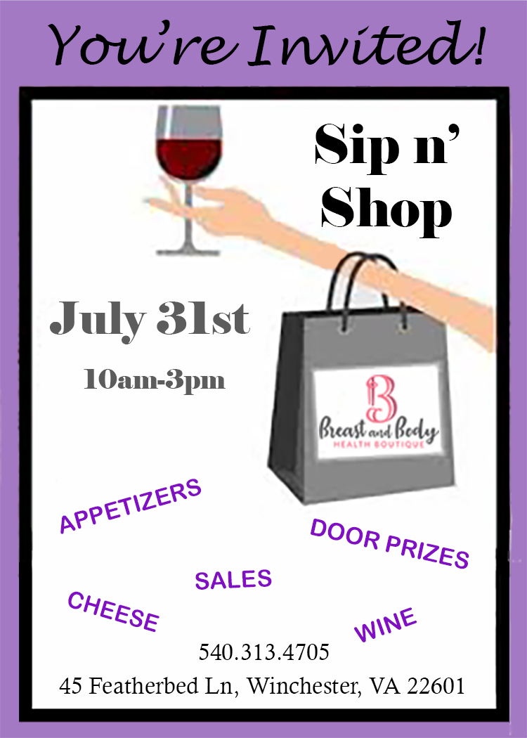 July Sip and shop flyer